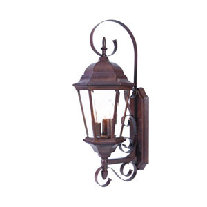 New Orleans Burled Walnut Three-Light 25-Inch Outdoor Wall Mount