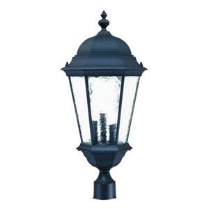 Telfair Matte Black Three-Light 27-Inch Outdoor Post Mount