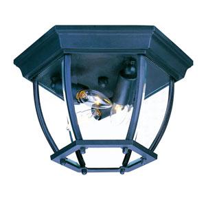 Matte Black Flushmounts Three-Light Ceiling Fixture Clear Beveled Glass
