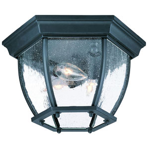 Matte Black Flushmounts Three-Light Ceiling Fixture Clear Seeded Glass
