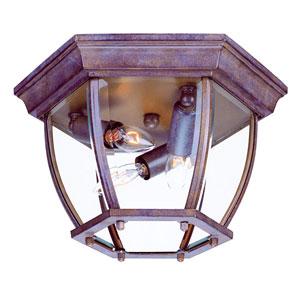 Burled Walnut Flushmounts Three-Light Ceiling Fixture Clear Beveled Glass