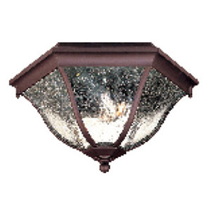 Architectural Bronze Three-Light Outdoor Ceiling Mount with Clear Seeded Glass