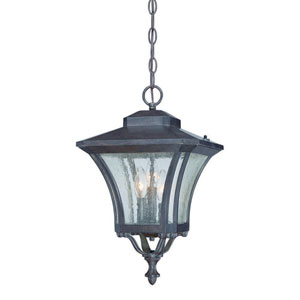 Tuscan Black Coral Three-Light Outdoor Hanging Fixture with Clear Seeded Glass