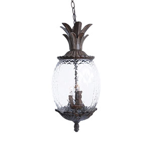Lanai Matte Black Coral Three-Light 21-Inch Outdoor Pendant
