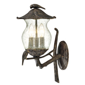 Avian Black Coral Three-Light Outdoor Wall Mount with Clear Seeded Glass