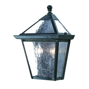 Charleston Matte Black Two-Light 10.75-Inch Outdoor Pocket Lantern