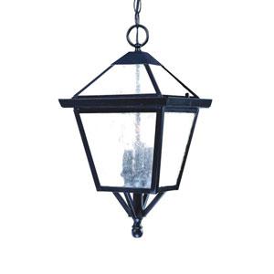 Charleston Matte Black Three-Light 18-Inch Outdoor Pendant