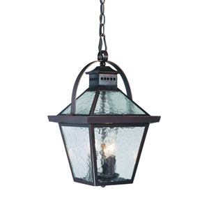 Bay Street Architectural Bronze Three-Light 16.5-Inch Outdoor Pendant