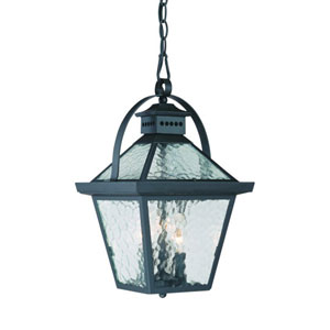 Bay Street Matte Black Three-Light 16.5-Inch Outdoor Pendant