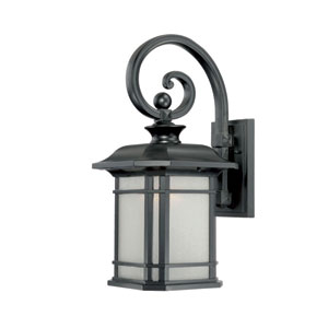 Somerset Matte Black Medium 18.75-Inch Wall Lantern with Frosted Clear Seeded Glass