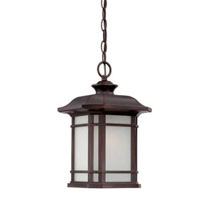 Somerset Architectural Bronze Medium 15-Inch Hanging Lantern with Frosted Clear Seeded Glass