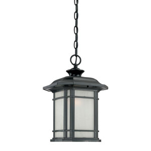 Somerset Matte Black Medium 15-Inch Hanging Lantern with Frosted Clear Seeded Glass