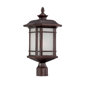 Somerset Architectural Bronze Medium 19.5-Inch Post Lantern with Frosted Clear Seeded Glass