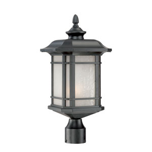 Somerset Matte Black Medium 19.5-Inch Post Lantern with Frosted Clear Seeded Glass