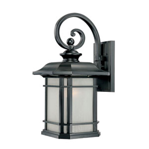 Somerset Matte Black Large 22-Inch Wall Lantern with Frosted Clear Seeded Glass