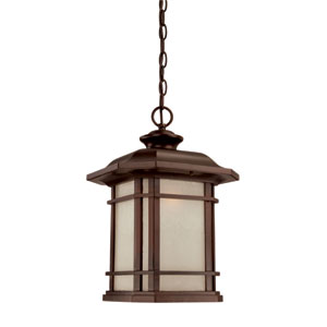 Somerset Architectural Bronze Large 17.25-Inch Hanging Lantern with Frosted Clear Seeded Glass