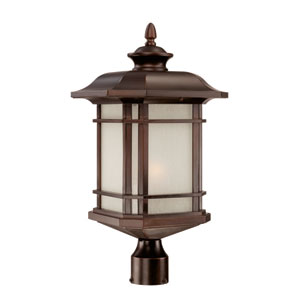 Somerset Architectural Bronze Large 22.5-Inch Post Lantern with Frosted Clear Seeded Glass