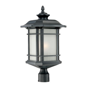 Somerset Matte Black Large 22.5-Inch Post Lantern with Frosted Clear Seeded Glass