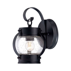 Boulder Matte Black One-Light Outdoor Wall Mount with Clear Seeded Glass