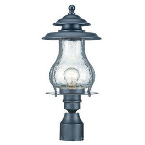 Blue Ridge Matte Black One-Light Outdoor Post Mount with Clear Crackled Glass