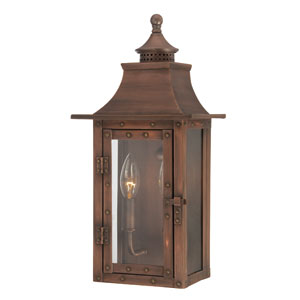 St. Charles Small Wall Lantern with Copper Patina Finish