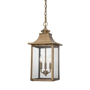 St. Charles Medium Hanging Lantern with Aged Brass Finish