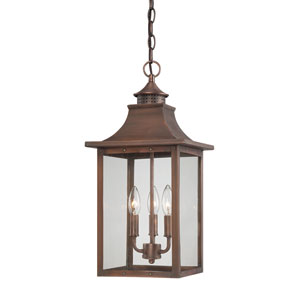 St. Charles Medium Hanging Lantern with Copper Patina Finish