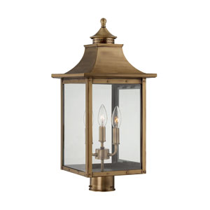 St. Charles Medium Post Lantern with Aged Brass Finish