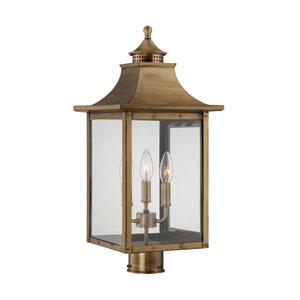 St. Charles Medium Post Lantern with Aged Brass Finish