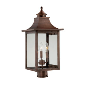 St. Charles Medium Post Lantern with Copper Patina Finish