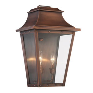 Coventry Copper Patina 17-Inch Two-Light Outdoor Wall Mount