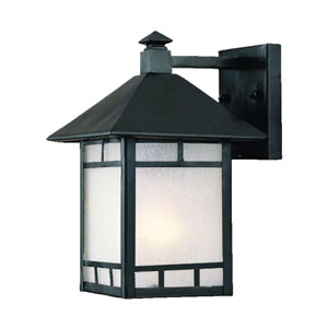 Artisan Matte Black One-Light 10.5-Inch Outdoor Wall Mount