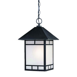 Artisan Matte Black One-Light 16-Inch Outdoor Pendant