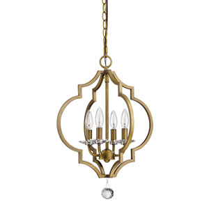 Peyton Raw Brass 16-Inch Four-Light Chandelier
