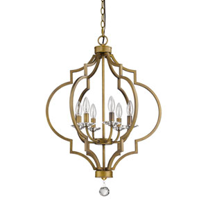 Peyton Raw Brass 21-Inch Six-Light Chandelier