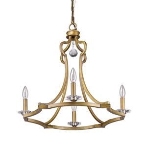 Peyton Raw Brass 23-Inch Four-Light Chandelier