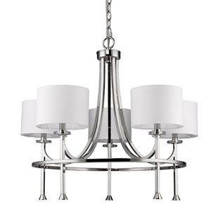 Kara Polished Nickel Five-Light Chandelier