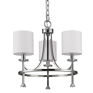 Kara Polished Nickel Three-Light Chandelier