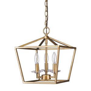Kennedy Antique Gold Three-Light Chandelier
