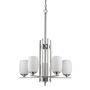 Sophia Satin Nickel Five-Light Chandelier