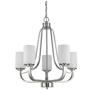 Addison Satin Nickel Five-Light Chandelier