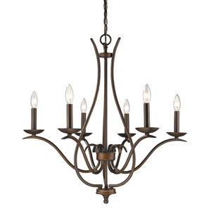 Genevieve Oil Rubbed Bronze Six-Light Chandelier