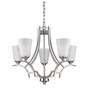 Zoey Satin Nickel Five-Light Chandelier
