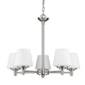 Paige Satin Nickel Five-Light Chandelier