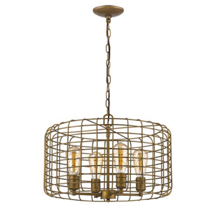Lynden Raw Brass 20-Inch Four-Light Pendant