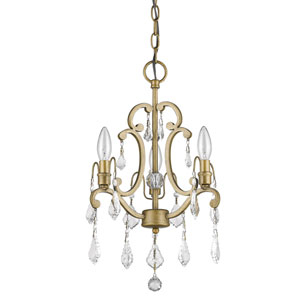 Claire Antique Gold 12-Inch Three-Light Chandelier