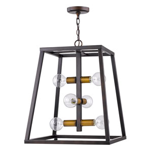 Tiberton Oil Rubbed Bronze 19-Inch Six-Light Pendant