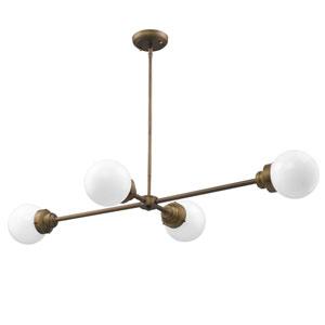 Portsmith Raw Brass 48-Inch Four-Light Pendant