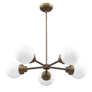 Portsmith Raw Brass 30-Inch Five-Light Pendant
