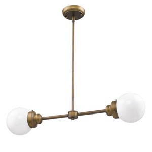 Portsmith Raw Brass 30-Inch Two-Light Pendant